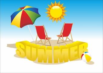 deckchair with umbrella, summer beach ball