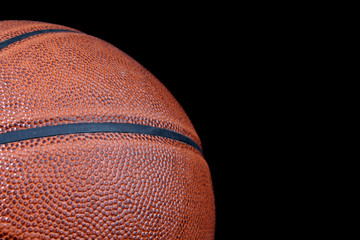 Basketball ball isolated on black