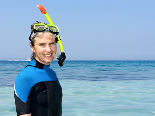 Happy Snorkeling Woman on Vacation