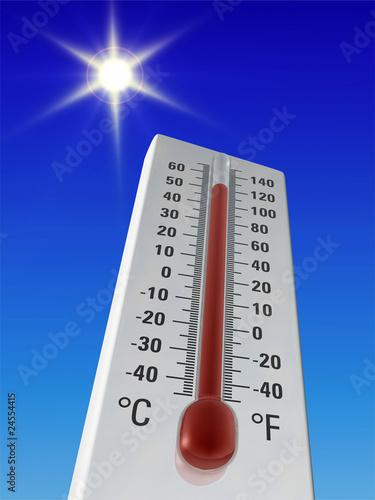 Leinwandbild Motiv Thermometer - sehr heiß