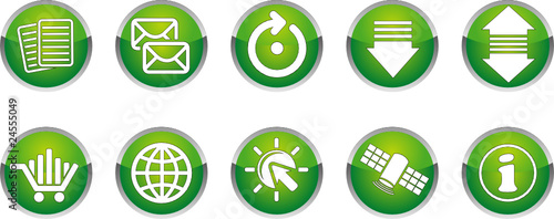 Communication icon set with abstract background