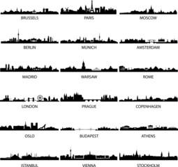 vector european city skylines