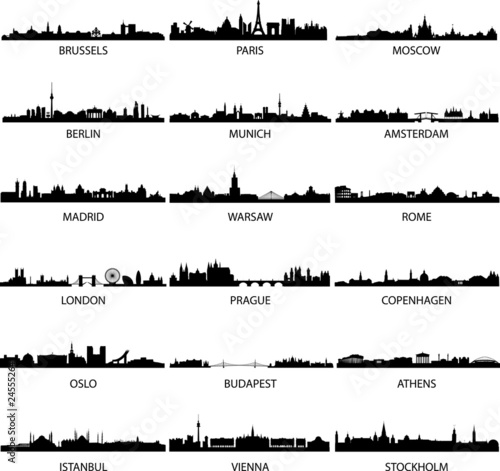 vector european city skylines