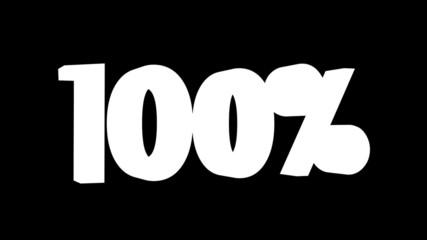 Texto de porcentaje en movimiento:100, 200