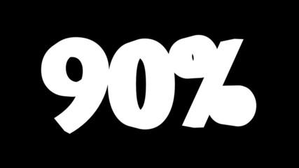 Texto de porcentaje en movimiento: 90, 95