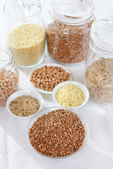 grains and cereals in the glassy jar