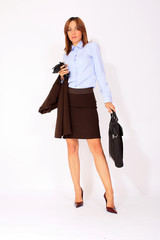 Modern business woman with briefcase