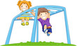 Children On Monkey Bar In The Park