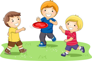 Children Playing Frisbee In The Park