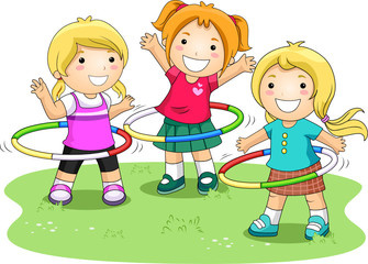 Children Playing Hula Hoops In The Park