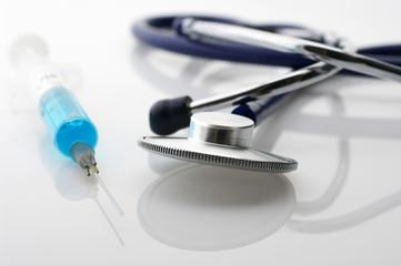 Stethoscope and syringe