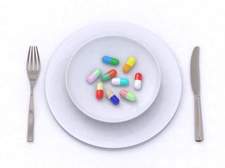 piatto con pillole