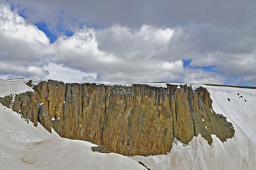 Lava Cliffs and spring snow, Rocky Mountain National Park