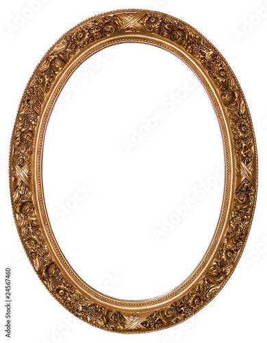 Leinwanddruck Bild Oval gold picture frame