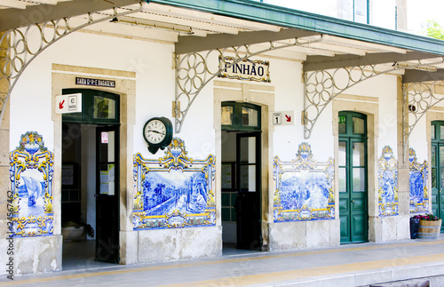 tiles (azulejos) at railway station of Pinhao, Douro Valley, Por - 24567462