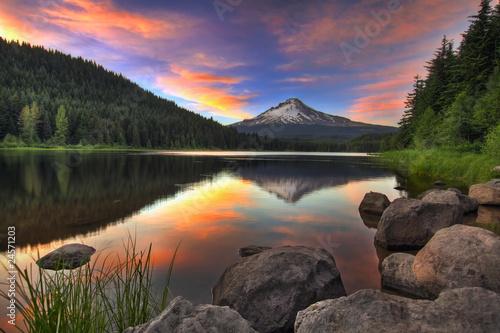 Aluminium Vulkaan Sunset at Trillium Lake with Mount Hood