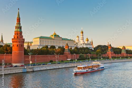 Leinwanddruck Bild Moscow kremlin at sunset