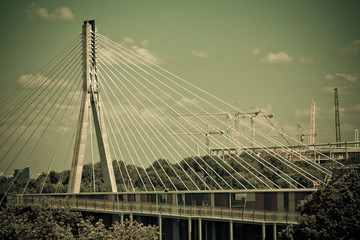 Swietokrzyski bridge on Vistula river in Warsaw.