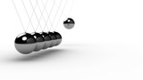Newton's Cradle over white - seamless, shallow depth of field