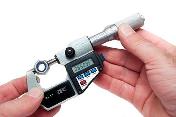 Measuring Equipment Digital Micrometer Measuring Bolt Isolated