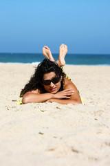 Brunette on the beach
