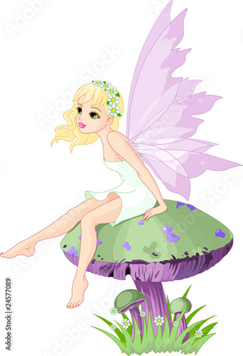 Fotobehang Magische wereld Fairy on the Mushroom