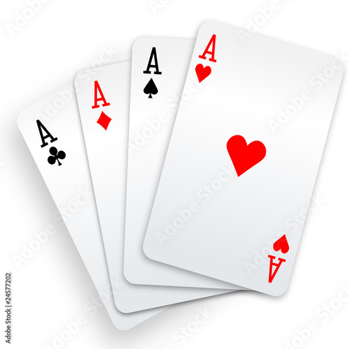Four aces playing cards poker winner hand - 24577202