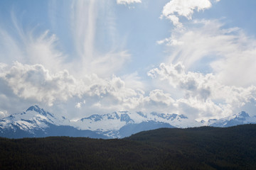 Mountain peaks and dramatic sky