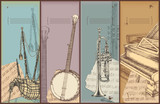 music theme banners-bagpipe, banjo, trumpet, piano