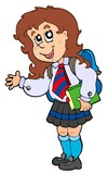 Cartoon girl in school uniform