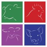 Stilisierte Silhouette von Tieren zur Fleischgewinnung