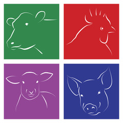 Silueta estilizada de animales para carne