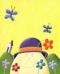 Humpty Dumpty with flowers