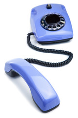 blue retro telephone isolated