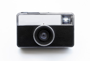 Front view of a vintage pocket camera.