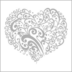 ornamental grey heart shape