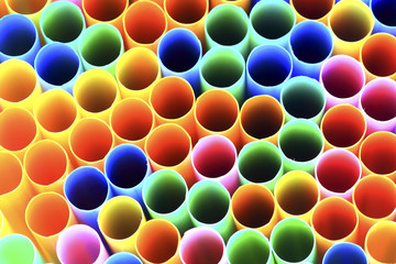 abstract background from colorful plastic straws