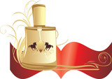 Perfume for men with decorative ornament. Banner. Vector poster