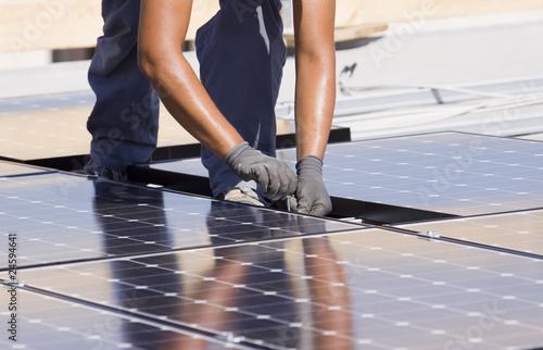 Leinwandbild Motiv photovoltaic panels
