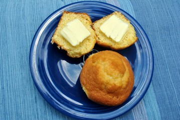 Corn Muffins with Butter on a Plate