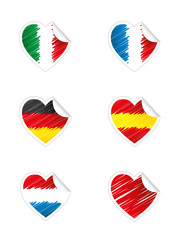 Heart stickers - Flags