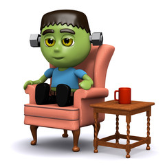 3d Frankenstein enjoys a nice cup of coffee