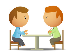 Two businessmen talk at the table
