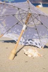 aufgespannter Sonnenschirm