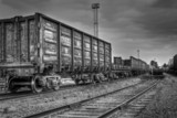 old freight carriages in black and white colors