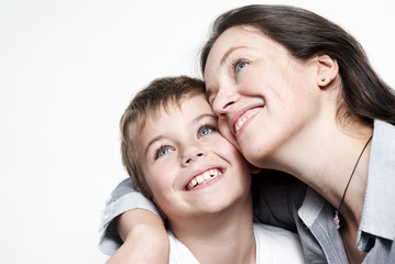 Happy mother with the son isolated
