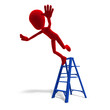 3d male icon toon character falls from the ladder. 3D rendering