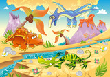 Dinosaurs with prehistoric background Vector illustration