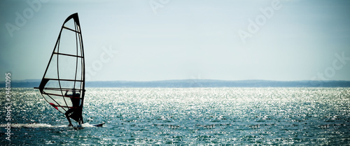 windsurfer panorama against a crystal sea