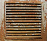little square rusty  metal ventilation shaft exit with peeling p poster